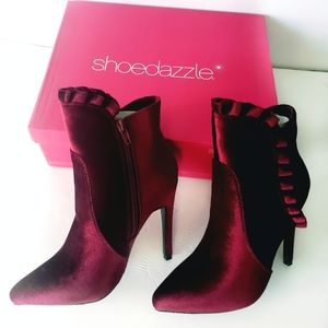 Shoedazzle Burgundy Velvet Ruffled Booties Vday